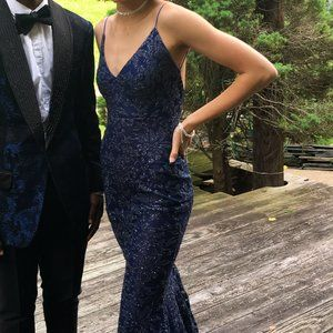 navy blue glittery (special occasion) prom dress